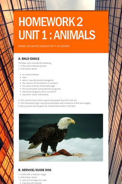 HOMEWORK 2 UNIT 1 : ANIMALS