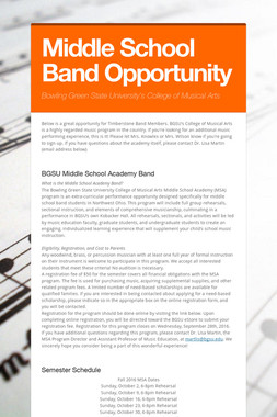 Middle School Band Opportunity