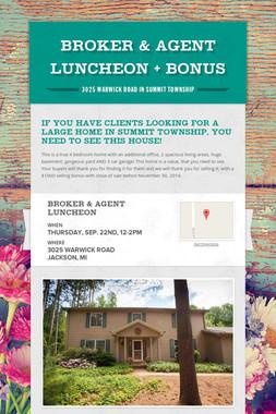 Broker & Agent Luncheon + Bonus