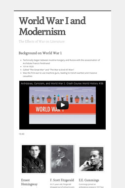 World War I and Modernism