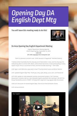 Opening Day DA English Dept Mtg