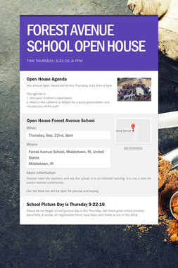 FOREST AVENUE SCHOOL OPEN HOUSE