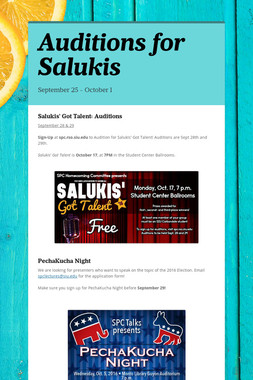 Auditions for Salukis