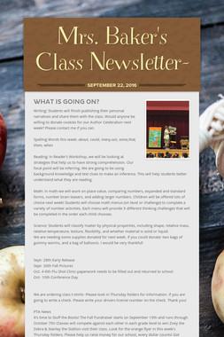 Mrs. Baker's Class Newsletter-