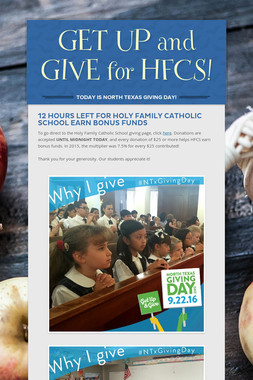 GET UP and GIVE for HFCS!
