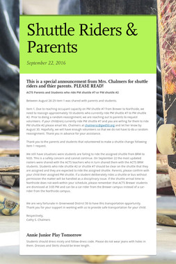Shuttle Riders & Parents