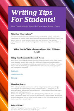 Writing Tips For Students!