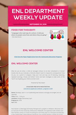 ENL Department Weekly Update