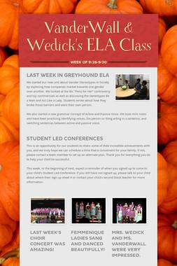 VanderWall & Wedick's ELA Class