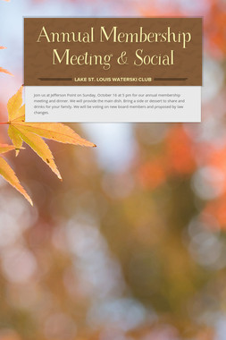 Annual Membership Meeting & Social