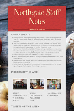 Northgate Staff Notes