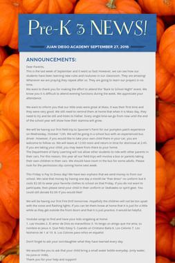 Pre-K 3 NEWS!