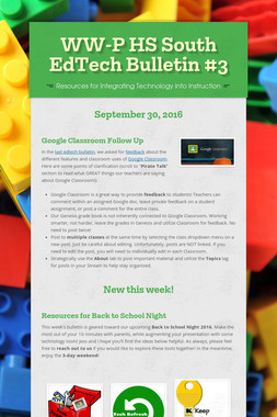 WW-P HS South EdTech Bulletin #3