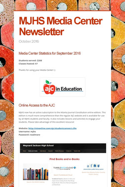 MJHS Media Center Newsletter