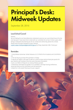 Principal's Desk: Midweek Updates