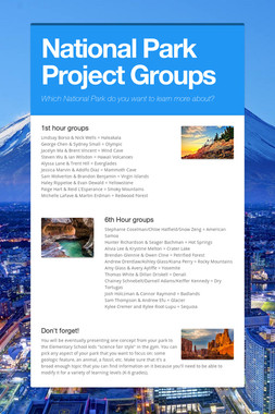 National Park Project Groups