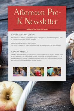 Afternoon Pre-K Newsletter