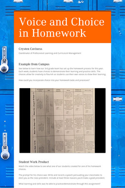 Voice and Choice in Homework