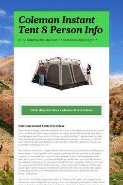Coleman Instant Tent 8 Person Info