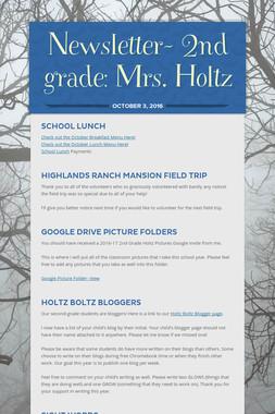 Newsletter- 2nd grade: Mrs. Holtz