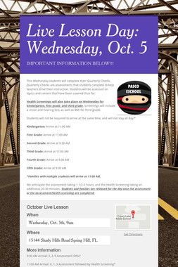 Live Lesson Day: Wednesday, Oct. 5