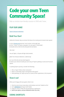 Code your own Teen Community Space!