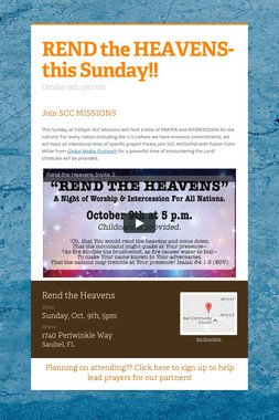 REND the HEAVENS- this Sunday!!
