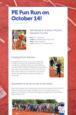 PE Fun Run on October 14!