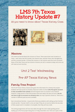 LMS 7th Texas History Update #7