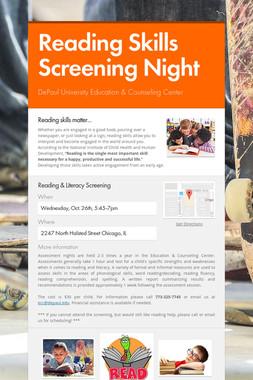 Reading Skills Screening Night