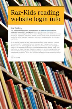 Raz-Kids reading website login info