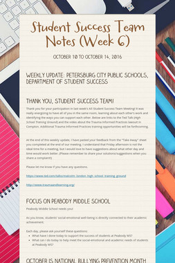 Student Success Team Notes (Week 6)