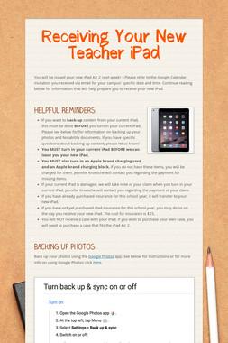 Receiving Your New Teacher iPad