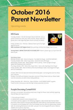 October 2016 Parent Newsletter
