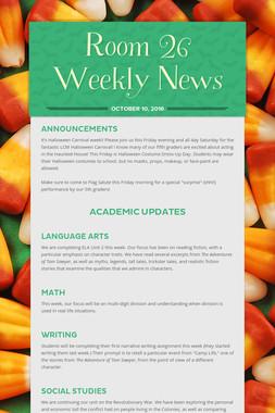 Room 26 Weekly News