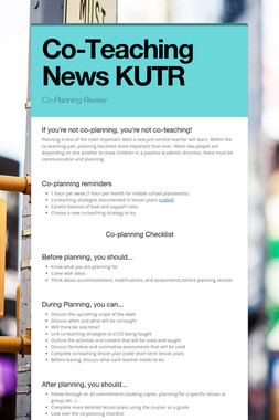 Co-Teaching News KUTR