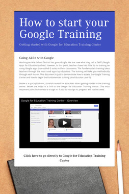 How to start your Google Training