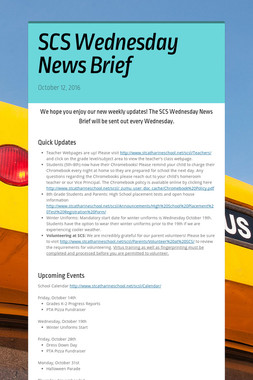 SCS Wednesday News Brief