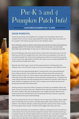 Pre-K  3 and 4 Pumpkin Patch Info!