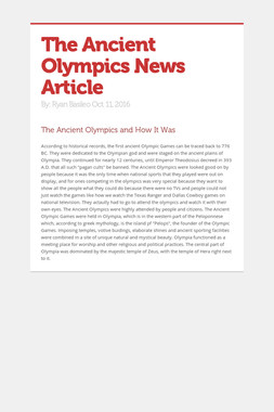 The Ancient Olympics News Article