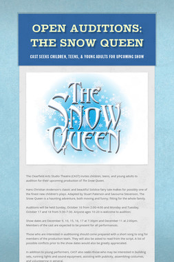 OPEN AUDITIONS:  The Snow Queen