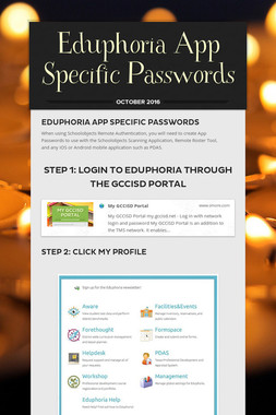 Eduphoria App Specific Passwords