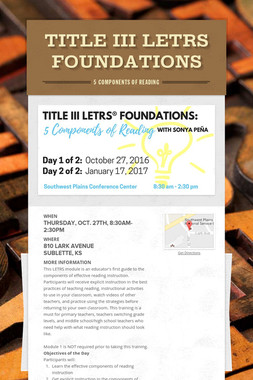 Title III LETRS Foundations