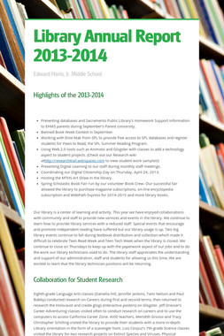Library Annual Report 2013-2014