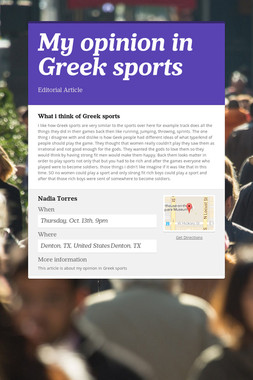 My opinion in Greek sports