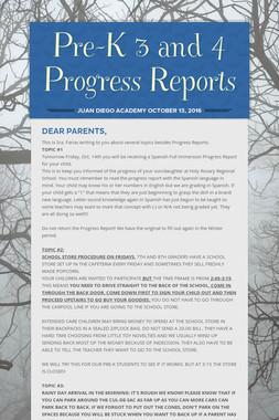 Pre-K 3 and 4 Progress Reports