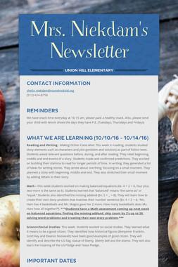 Mrs. Niekdam's Newsletter