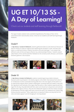 UG ET 10/13 SS - A Day of Learning!