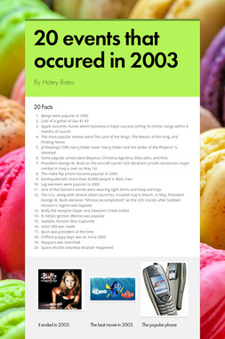 20 events that occured in 2003