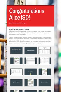 Congratulations Alice ISD!